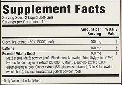 Green Tea Fat Burner Ingredients